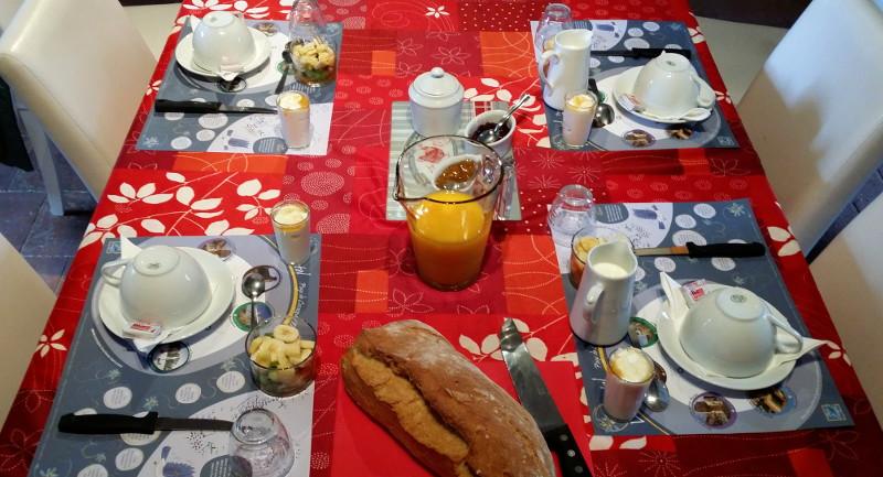 Petit déjeuner complet pour les chambres d'hôtes