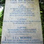 Stèle à la mémoire de Pierre Paul Riquet à la Prise d'Alzeau