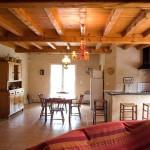 Salon et coin cuisine du gîte En Lanet dans le Tarn, proche de Castres