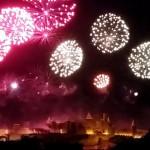 Feu d'artifice à la cité de Carcassonne le 14 juillet 2015